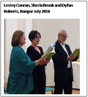 Text Box: Lesley Conran, Sheila Brook and Dyfan Roberts, Bangor July 2016